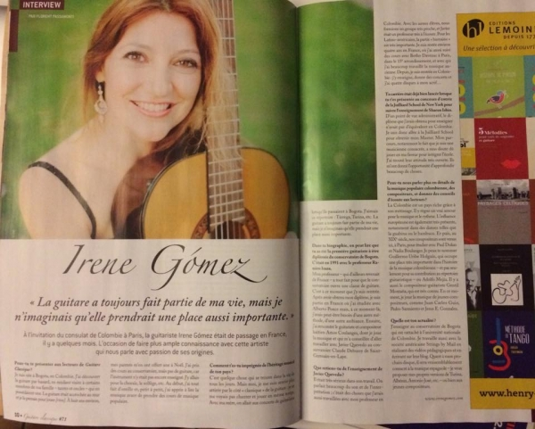 Interview at Guitare Classique Magazine of France