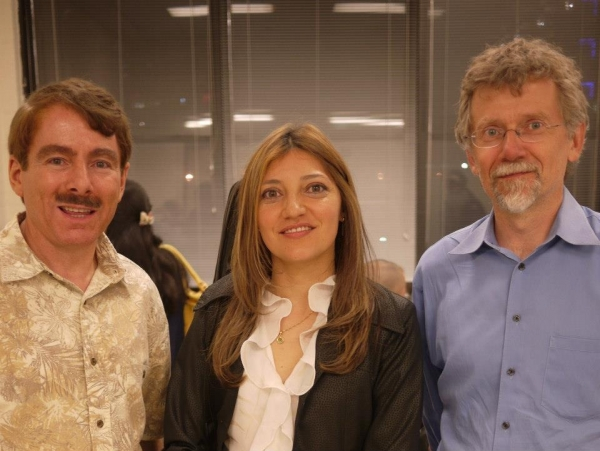 Irene Gomez after a lecture at NewYork Classical Guitar Society with John Olson President and Lee Soroca
