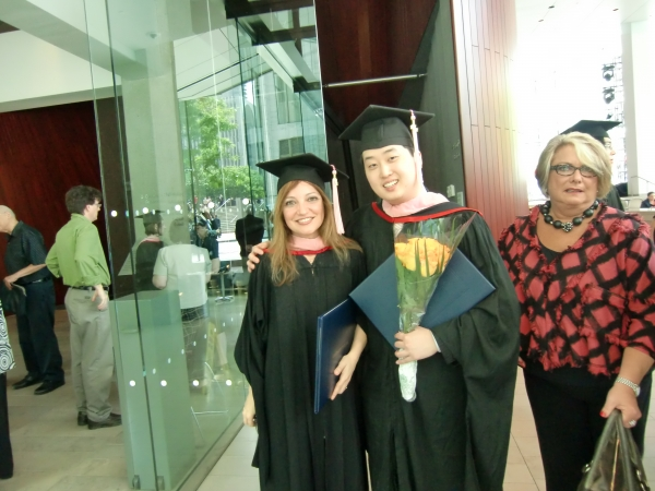 Irene Gomez with composer Michael Lee at Juilliard Commencement ceremony on May 2012