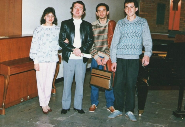 Irene Gomez with her teacher Ramiro Isaza and fellows Mario Riveros and Omar Gonzales at the Conservatory of Music in Bogota
