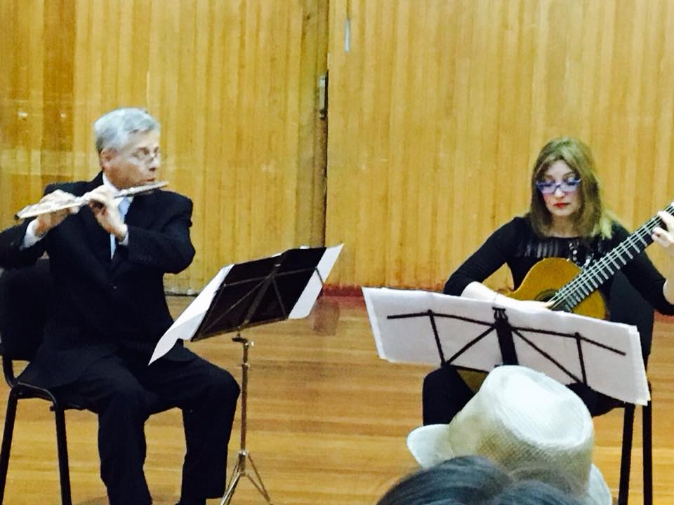 Irene Gomez with flutist Luis Fernando Pérez